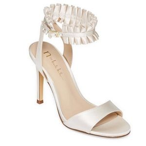 Sophisticated White High Heel Stiletto with Ruffle